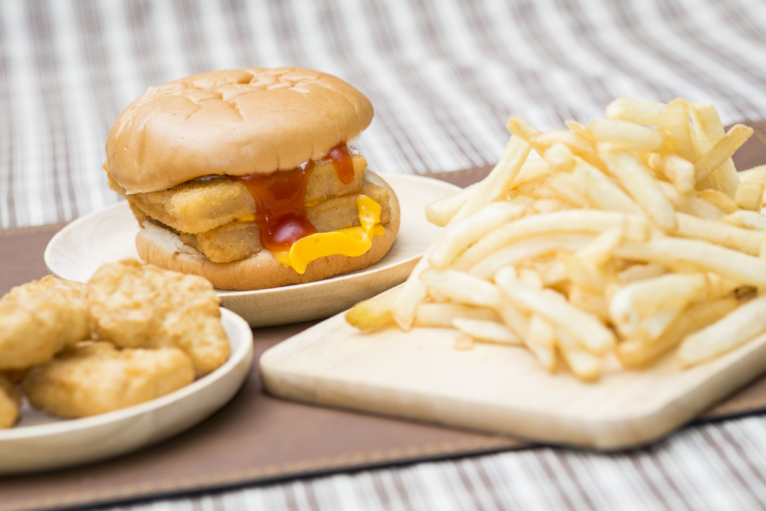 Burger, Fries and chicken nuggets